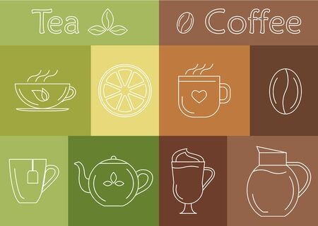 Vector illustration. Set of coffee and tea cups, symbols and design elements. Elements in trendy linear style. Illustration
