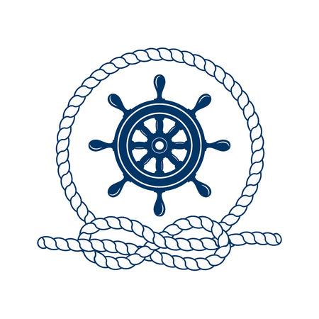 timon de barco: insignia náutica con el timón. Ilustración del vector del timón náutico. Marco redondo de la cuerda. icono de timón. capitán del timón. timón marino. Símbolo de los marineros, vela, crucero y el mar. Icono y elementos de diseño. símbolo marino.