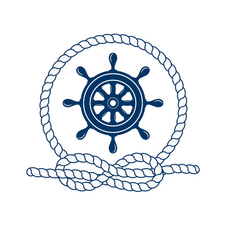 Nautical badge with helm. Vector illustration of nautical helm. Round frame of rope. Helm icon. Helm captain. Marine helm. Symbol of sailors, sail, cruise and sea. Icon and design element. Marine symbol.