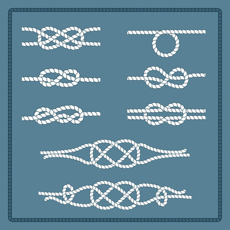 rope vector: Rope knots collection. Decorative elements. Vector illustration. Marine rope knot. Vector Rope. Set of nautical rope knots, corners and frames. Hand drawn decorative elements in nautical style. Illustration
