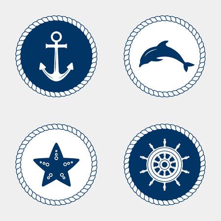 timon de barco: Vector de la náutica y los iconos marinos, elemento de diseño. Vector de elementos náuticos. deporte de ocio mar. Símbolo de los marineros, vela, crucero y el mar. Conjunto de iconos marinos. Cuerda remolinos, logotipos e insignias. Vectores