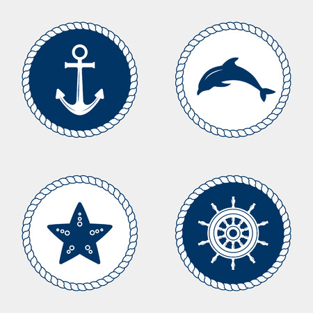 ships at sea: Vector of Nautical and marine icons, design element. Vector nautical elements. Sea leisure sport. Symbol of sailors, sail, cruise and sea. Set of marine icons. Rope swirls, logos and badges. Illustration
