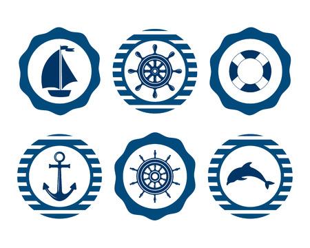 海洋のシンボルのセットです。海事と海洋のアイコンのベクトル。海のシンボル フラット アイコン。海と航海の飾りのセット。船員、帆、クルーズ