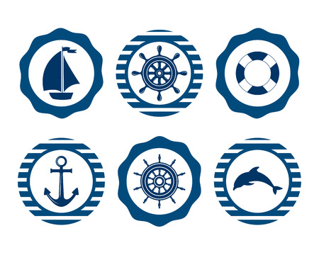 cruise: Set of marine symbols. Vector of Nautical and marine icons. Flat icons with sea symbols. Set of sea and nautical decorations. Symbol of sailors, sail, cruise and sea. Sea leisure sport.