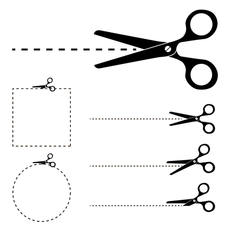 penetrated: The scissors icon. Cut here symbol. Scissors and dotted line. Flat Vector illustration. Cut Here Scissors. Silhouettes of Vector scissors with Cut Here dashed lines.