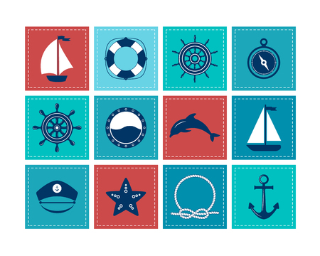 Set of marine symbols. Vector of Nautical and marine icons. Flat icons with sea symbols. Collection of element - anchor, starfish, boat, lifebuoy, compass, helm. Set of sea and nautical decorations. Sea leisure sport. Vektorové ilustrace