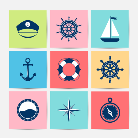 marine: Set of marine symbols. Vector of Nautical and marine icons. Flat icons with sea symbols. Collection of element - anchor, starfish, boat, lifebuoy, compass, helm. Set of sea and nautical decorations. Sea leisure sport.