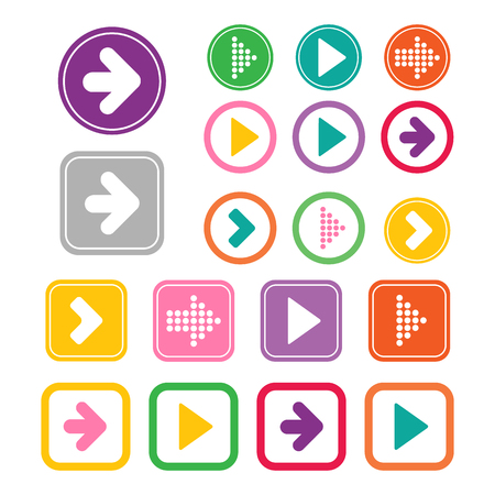 plain button: Arrow icon set. Vector illustration of plain round and square arrow icons. Simple circle and square shape internet button.