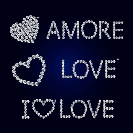 diamond letters: Shiny made with diamond heart on dark blue background. Shiny diamond heart. Diamond letters. Romantic Valentines Day Card. Vector Illustration.