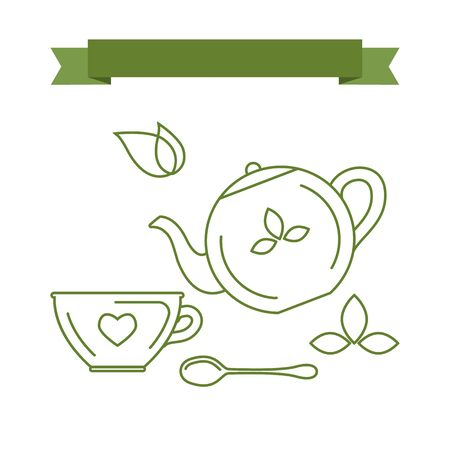 tea leaves: Simple set of icons and symbols with the theme of tea. Elements and icons in trendy linear style. Vector illustration. Tea utensils, cup, a teaspoon, a kettle for tea leaves.