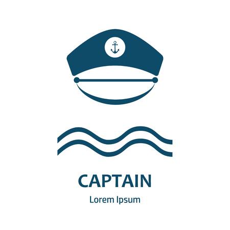 admiral: Captain hat icon. Sailor cap vector icon. Sailor captain hat isolated. Vector illustration. Sea, boat, travel, command, control, anchor.