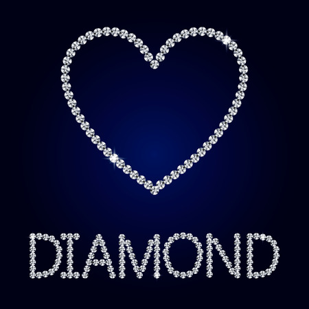 coeur diamant: Vector brillante faite avec diamant coeur sur fond bleu foncé. Brillant coeur de diamant. lettres Vector diamant. Carte Saint Valentin romantique.
