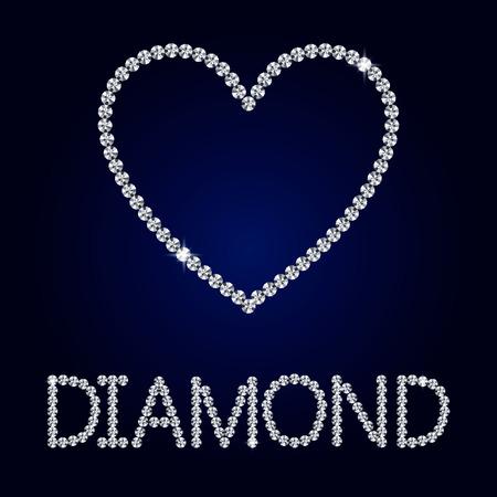 diamond heart: Vector shiny made with diamond heart on dark blue background. Shiny diamond heart. Vector Diamond letters.  Romantic Valentines Day Card. Illustration