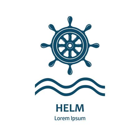 timon barco: Rueda de timón náutico. logotipo de timón para las compañías marítimas. Barco de control de la rueda del timón icono del vector. naves, rueda de timón mar, redondos, de control, de yates, cruceros. aislado de la rueda del timón. plantilla de la etiqueta del vector.
