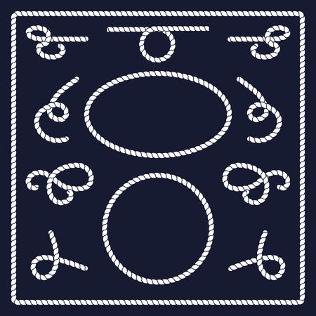 Rope knots collectie. Touw wervelingen, logo's en badges. Vector illustratie. Marine touw knoop. Vector Rope. Set van nautische touw knopen, hoeken en frames. Getrokken decoratieve elementen in nautische stijl.
