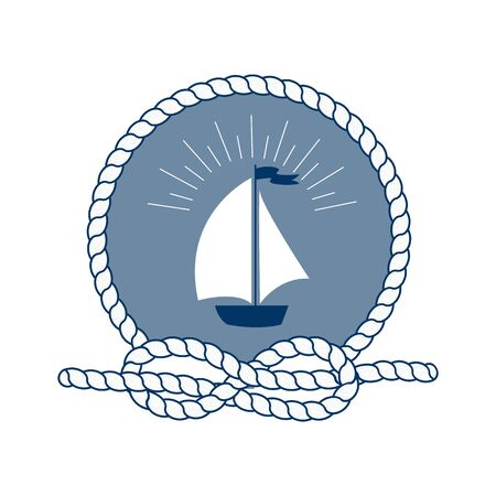 rope vector: Nautical badge with vessel. Vector illustration of nautical vessel. Round frame of rope. White ship on blue background. Symbol of sailors, sail, cruise and sea. Icon and design element. Marine symbol. Illustration