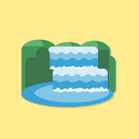 scenics: Waterfall of natural vacation abstract vector and logo design or template. Mountain waterfall and lake. Flat design icon.