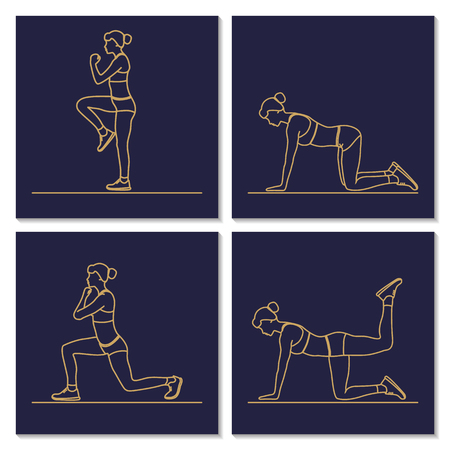 keep fit: Fitness, sports, girl performs exercises. Female exercising silhouette. Keep fit exercise. Vector set of icons and signs in trendy linear style. Woman practicing fitness.
