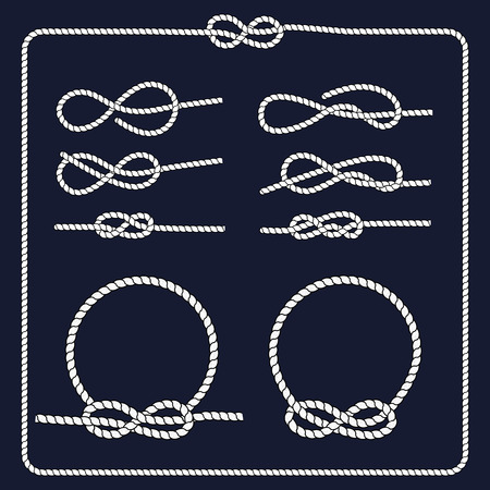 rope border: Rope knots collection. Decorative elements. Vector illustration. Marine rope knot. Vector Rope. Set of nautical rope knots, corners and frames.