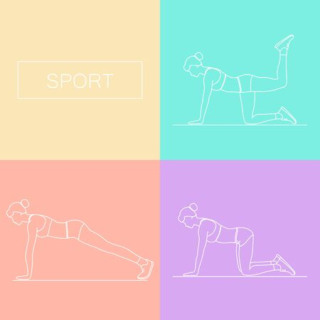 keep in: Fitness, sports, girl performs exercises. Female exercising silhouette. Keep fit exercise. Vector set of icons and signs in trendy linear style. Woman practicing fitness.