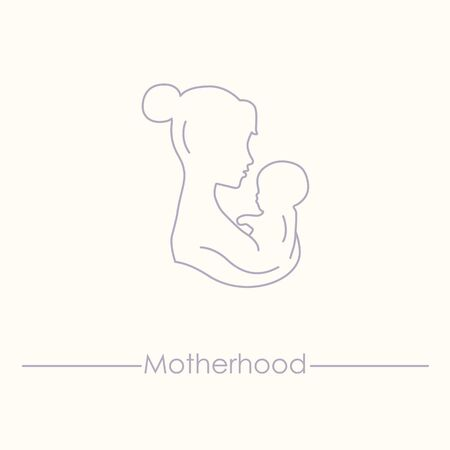childbirth: Mother is holding baby. Woman with a baby. Silhouette of a woman with a baby illustration. Pregnancy and childbirth. Mom and baby vector icon. Illustration