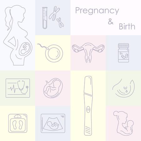 El embarazo y los iconos del bebé recién nacido conjunto. Embarazo y el parto, la infografía plantilla de presentación y de conjunto de iconos. Conjunto de la medicina y de vectores iconos embarazo. cuidado del bebé, ilustración madre biológica.