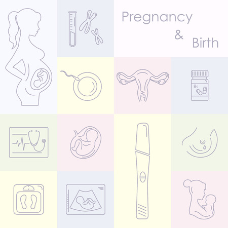 Schwangerschaft und Neugeborenen-Icons gesetzt. Schwangerschaft und Geburt Infografiken, Präsentationsvorlage und Symbole gesetzt. Medizin und Schwangerschaft Vektor-Icons gesetzt. Babypflege, Mutter Geburt Illustration.