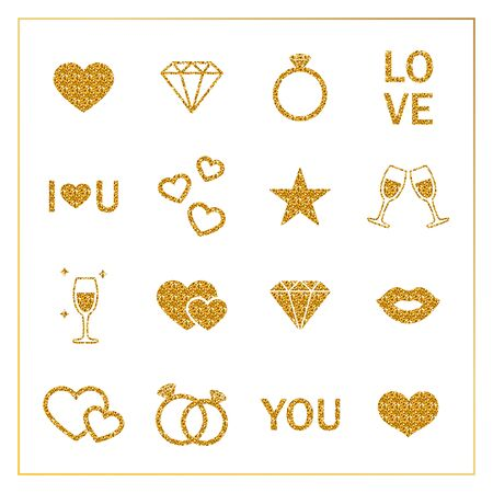 valentine s: Set of love icons. Romantic shiny gold icons for valentine s day, design, greeting card, decoration. Wedding and Love Icons. Gold Glitter Valentine icons. Golden letters. St. Valentine s Day icons. Vector illustration.