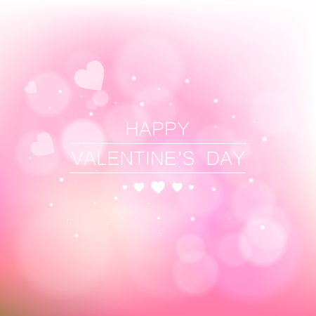 valentine s day background: Vector background with beautiful pink hearts. Greeting card for Valentine s Day. Valentine s day background with hearts. Romantic shiny blurred vector background.