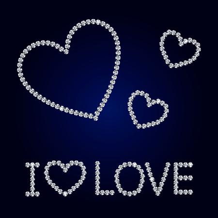 coeur diamant: Brillant fait avec le coeur de diamant sur fond bleu foncé. Brillant coeur de diamant. Lettres de diamant. Carte du jour romantique Valentine. Vector Illustration.