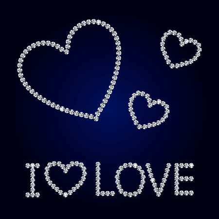 diamond heart: Shiny made with diamond heart on dark blue background. Shiny diamond heart. Diamond letters. Romantic Valentine s Day Card. Vector Illustration.