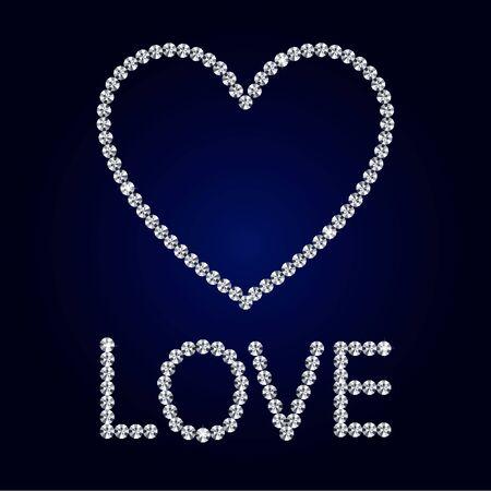 Shiny made with diamond heart on dark blue background. Shiny diamond heart. Diamond letters. Romantic Valentine s Day Card. Vector Illustration.