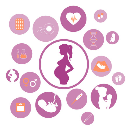 Pregnancy and newborn baby icons set. Childbirth and motherhood. Pregnancy and birth infographics. Medicine and pregnancy vector icons set. Baby care, mother birth illustration.
