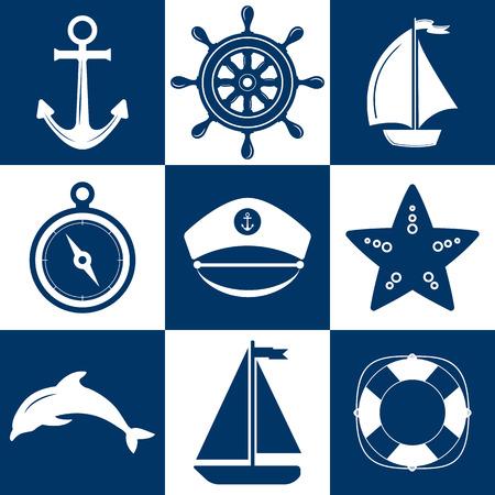 Insieme dei simboli marini. Vettore di nautica e le icone marini. Icone piane con i simboli del mare. Raccolta di ancoraggio elemento, stelle marine, barca, salvagente, bussola, timone. Set di mare e decorazioni nautiche. Sea Sport per il tempo libero.