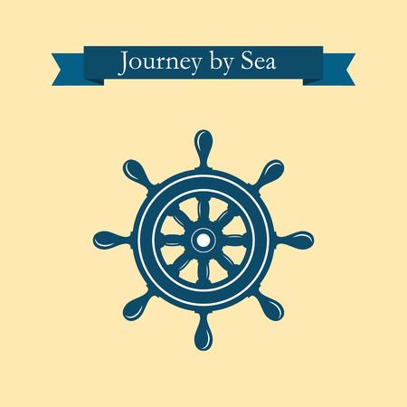 helm boat: Rueda de timón náutico. Timón de las compañías marítimas. Barco de control de la rueda del timón icono del vector. naves, rueda de timón mar, redondos, de control, de yates, cruceros. aislado de la rueda del timón. plantilla de la etiqueta del vector. Vectores