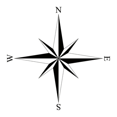 compass rose: Black wind rose compass isolated on white