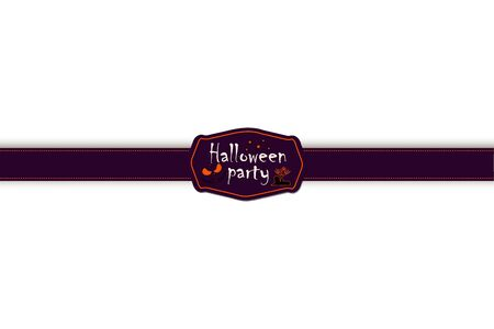scrap book: Halloween ribbon and label. Halloween sticker. Scrapbook elements. Vector illustration. Trick or Treat Concept. Elements for your design and layout. Halloween symbols and attributes.