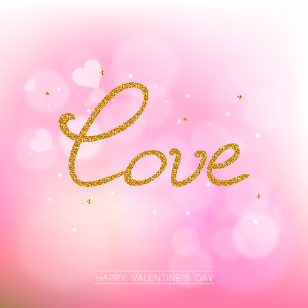 shiny hearts: Valentine day abstract background with hearts. Gold glitter lettering card with hearts. Greeting card for Valentine Day. Romantic shiny blurred vector background.