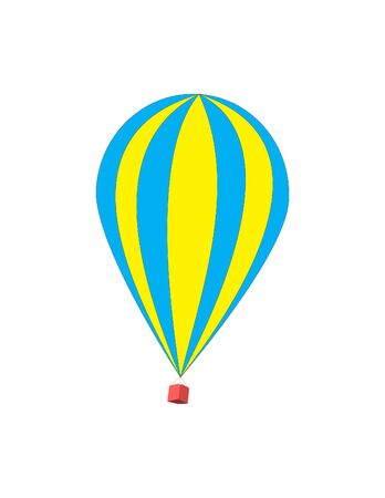flying balloon: Vector illustration of a hot air balloon. Isolated on white background. Striped beautiful flying balloon.