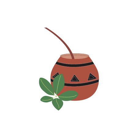 Yerba mate tea branch and calabash. Herbal hot traditional tea in argentina. Vector illustration.