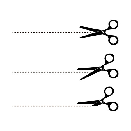 penetrated: Cut here symbol. Scissors and dotted line. Cut Here Scissors.