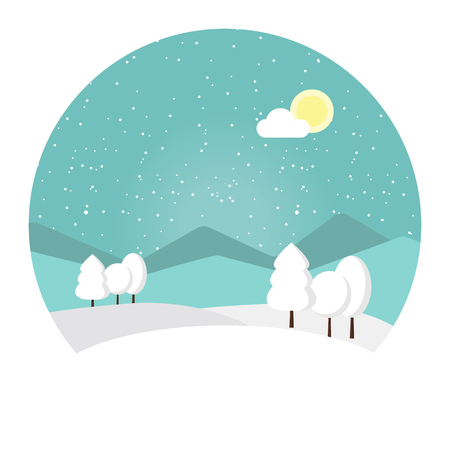 snowdrifts: Vector illustration winter landscape. Snowy mountain. Winter time. Wonderful winter morning of Christmas. Blue landscape, rocks and clouds, snowdrifts and trees. Winter sun day. Illustration
