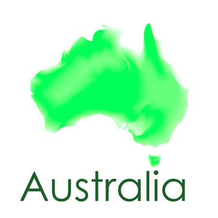 Watercolor map of Australia in vector format in green colors on a white background. Australian border and country name. Map concept. Illustration