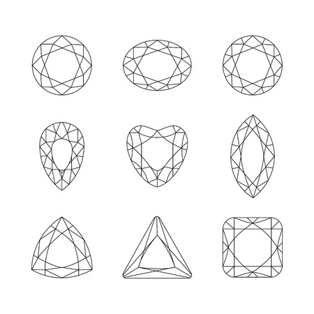faceting: Set of isolated gemstones.Vector set of diamond thin line design elements. Precious gem stones set of forms. Gemstone faceting patterns on a white background.