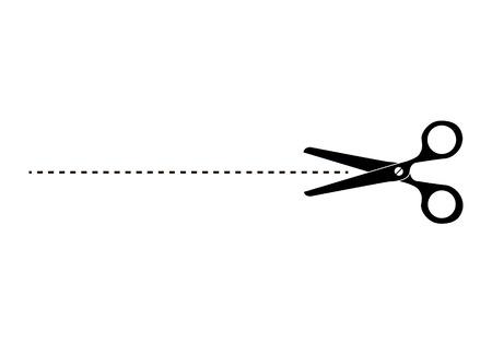 Ikona nożyczki. Wytnij tutaj symbol. Nożyczki i kropkowana linia. Wytnij Nożyczki. Sylwetki nożyczek z linią przerywaną Cut Here. Ilustracji wektorowych