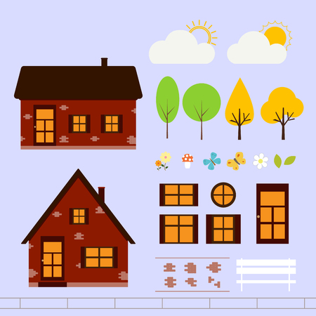 Courtyard constructor. House of red brick. Some part of the house - bricks, doors and windows. Garden at the house with trees, flowers and mushrooms. The sun behind the clouds. Vector illustration.