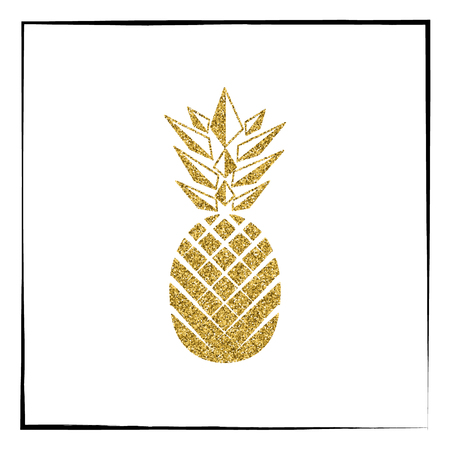 Gold glitter Pineapple pattern. Summer fruit trendy illustration. Pineapple isolated on white background. Poster design. Vector illustration.