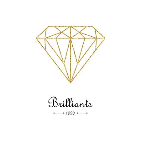 Gouden glitter diamant dunne lijn ontwerpelement. Mooie gouden diamantvorm op witte achtergrond. Sieraden winkel embleem. Edelsteen facet patroon. Vector illustratie.