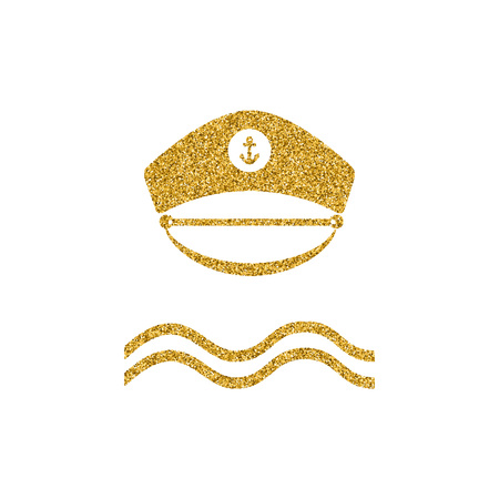 Captain gold glitter hat icon. Poster design with nautical theme. Sailor captain hat isolated. Gold effekt design element. Vector illustration. Imagens