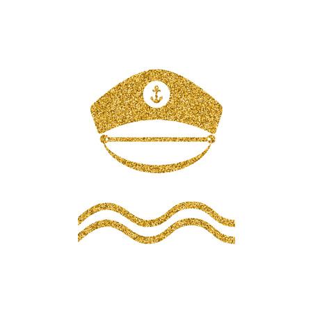 Captain gold glitter hat icon. Poster design with nautical theme. Sailor captain hat isolated. Gold effekt design element. Vector illustration. Banco de Imagens